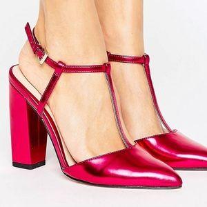 Fuchsia block heels asos